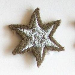 6ágú csillag hímzett - ezüst 20 mm