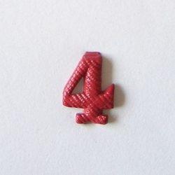 Fém szám - piros 4