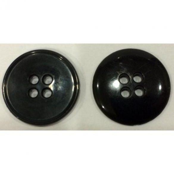 4 lyukú lapos gomb - fekete 20 mm