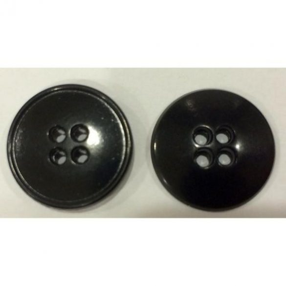 4 lyukú gömbölyű gomb - fekete 20 mm