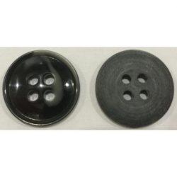 4 lyukú peremes gomb - fekete 20 mm