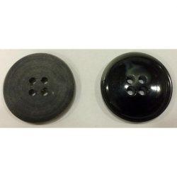 4 lyukú peremes gomb - fekete 25 mm