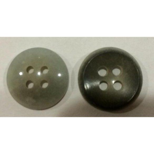 4 lyukú gomb - világosszürke 15 mm