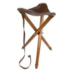 Háromlábú vadász szék bőr ülőkével