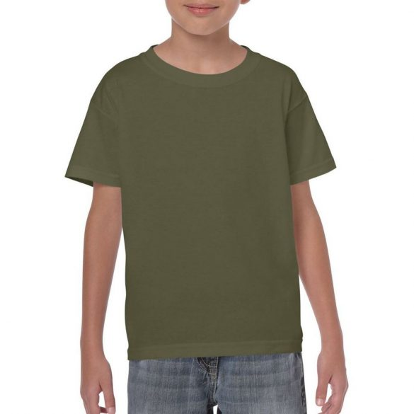 Gildan gyerek póló - military-zöld