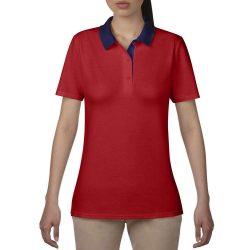 Anvil női piké póló - piros/navy
