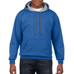 Gildan kapucnis pulóver - királykék/szürke