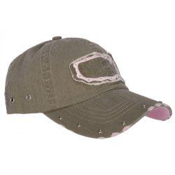 Szegecselt baseball sapka - zöld/rózsaszín